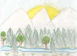 Drawing: sunset over mountains