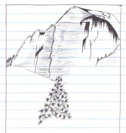 Sketch: cliffs and tree