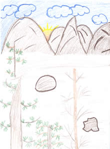 Sketch: trees with mountians in background