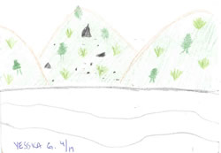 sketch: forested hills