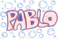 sketch: pablo's name with bubbles