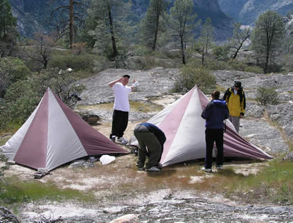 boys with tents