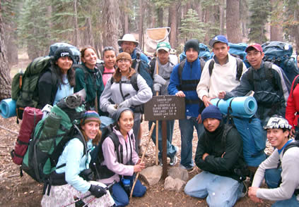 group at trailhead