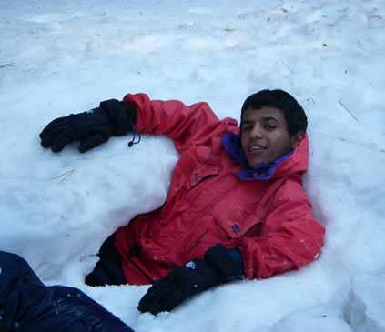 taher in the snow