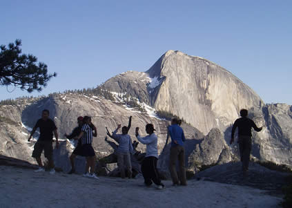 group dancing by half dome
