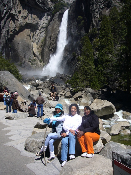 families at the waterfall
