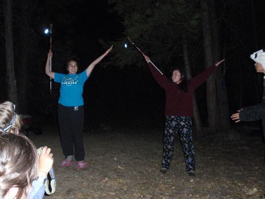 Baton practice campfire