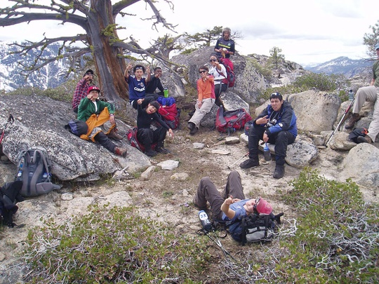 Group resting in wilderness