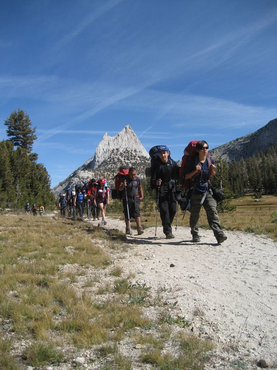 group backpacking by cathedral peak