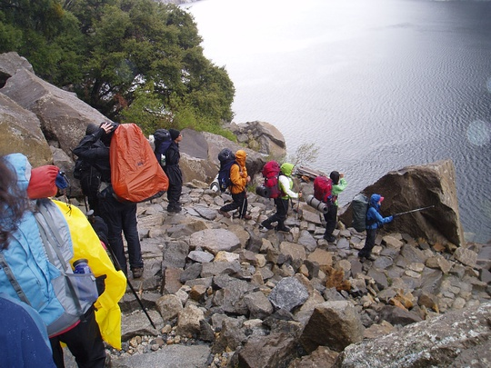 The group descends to Hetch Hetchy