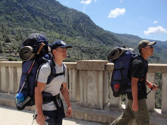 Saul and Michael Hiking on Dam