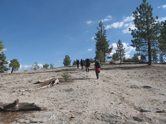 Group Hiking Up North Dome